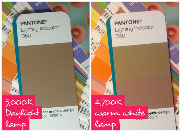 Pantone D50 light indicator under both daylight and warm light conditions