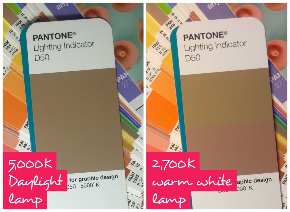Pantone D50 light indicator under both daylight and warm light conditions